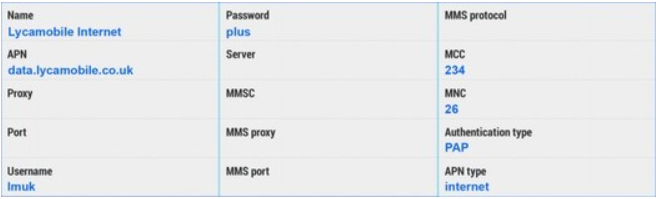 LycaMobile Internet & MMS APN Settings For Android