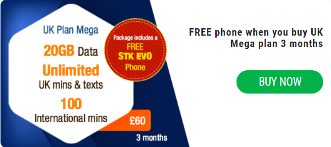 UK Plan Mega With STK EVO Phone (3 Months)